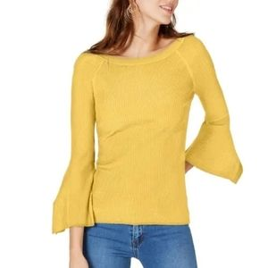 INC Sweater Top Long Sleeve Pullover Yellow Flare